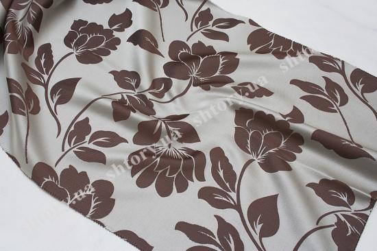 Штора серая с коричневыми цветами