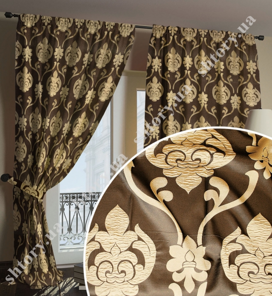 Штора, коричнево-золотистая, дамаск