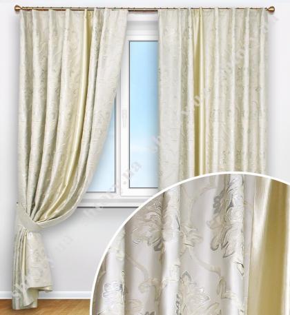 Комплект штор из парчи с декоративным элементом