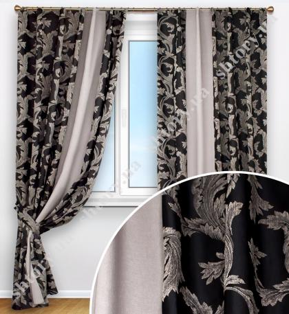 Комплект штор темно-серая средней плотности