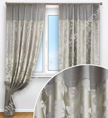 Комплект штор, шелковые серо-бежевые с цветочным рисунком