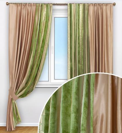Комплект штор, тафта  и микровелюр с вышивкой
