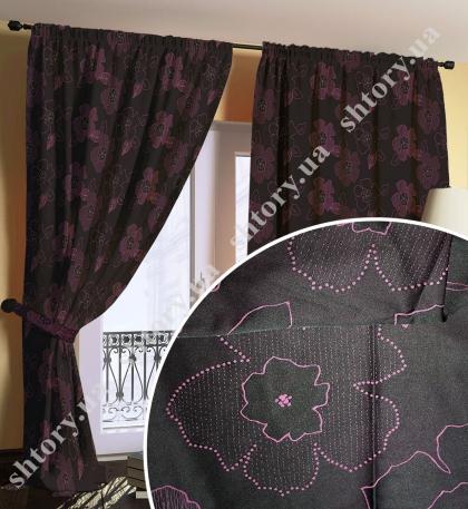 Штора черная с фиолетовыми цветами