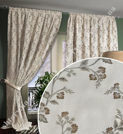 Штора с цветочным орнаментом, вискоза