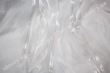 Тюль белый в вертикальную полосу