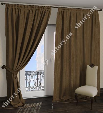 Комплект штор темно коричневый