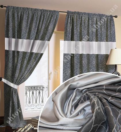 Комплект штор темно-серый с рисунком