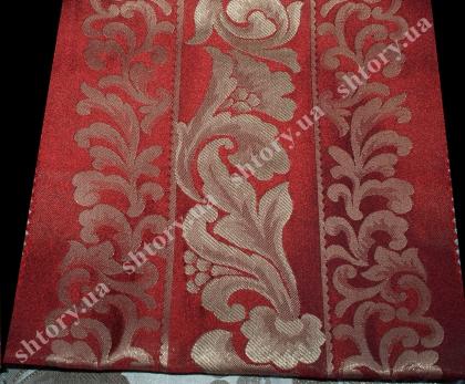 Красная штора с золотым узором